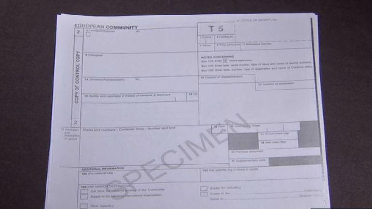 Example transit document