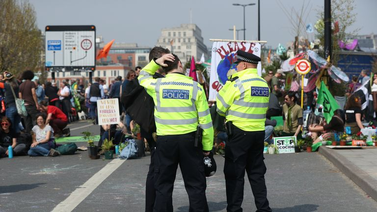 Extinction Rebellion demonstrators on Waterloo Bridge, London