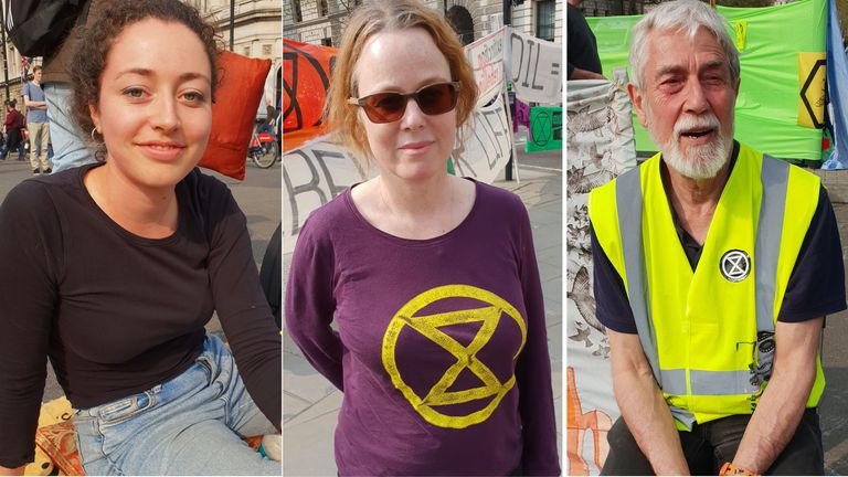 From left to right: Protesters Kate, Eithne and Kevin