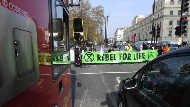 Activists have blocked Vauxhall Bridge in London as protests continue for a fourth day