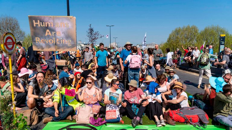 Climate change activists on Waterloo Bridge in London last month
