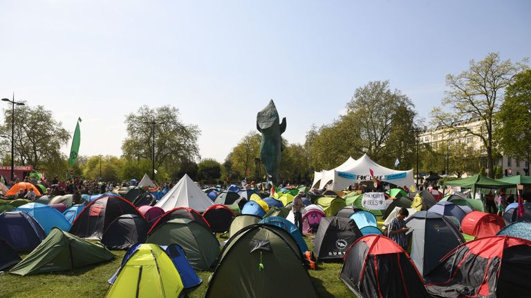 Extinction Rebellion protesters at Marble Arch