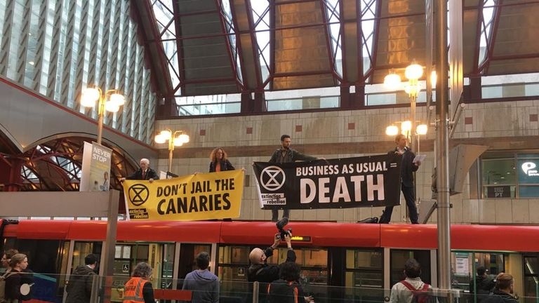 Protests at Canary Wharf. Pic: Extinction Rebellion