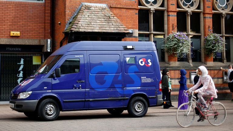 A G4S security van is parked outside a bank in Loughborough, central England, August 28, 2013.