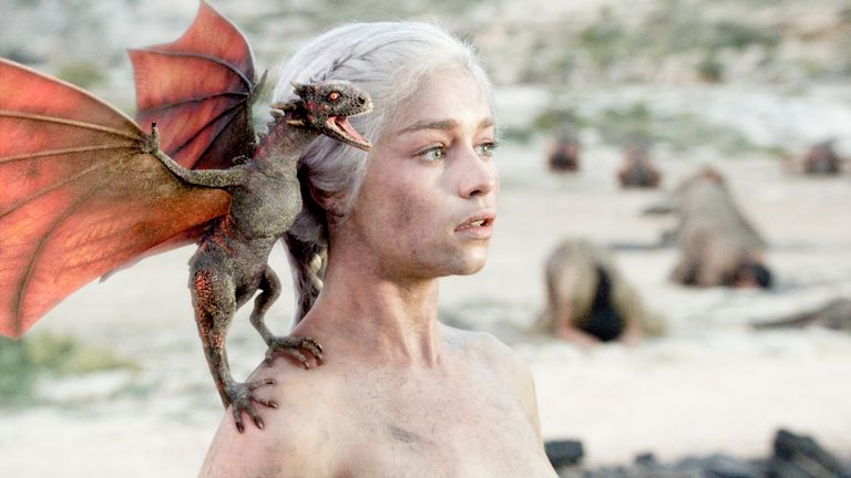 Game Of Thrones, Series 1.Episode 10, Fire and Blood..Emilia Clarke as Daenerys.... Pic: HBO/ Sky Atlantic