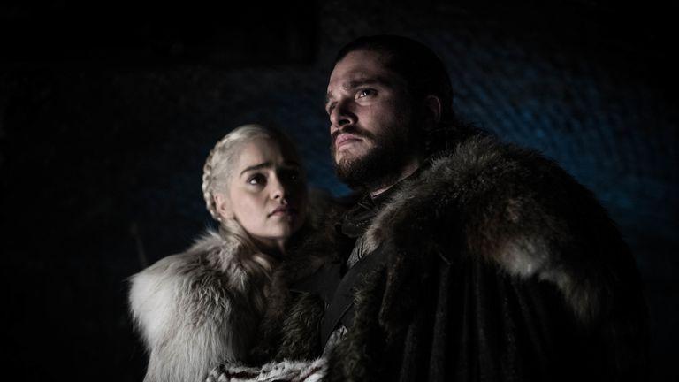 Emilia Clarke as Daenerys Targaryen and Kit Harington as Jon Snow in season eight, episode two of Game Of Thrones