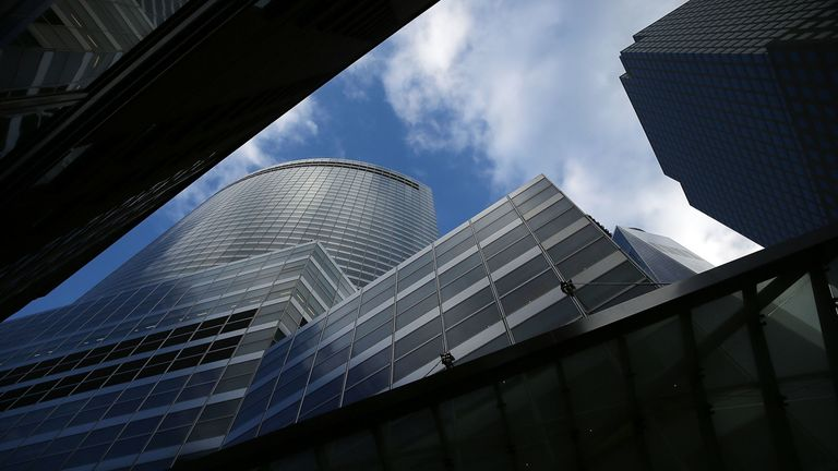 Goldman Sachs Manhattan headquarters are viewed on January 16, 2015 in New York City