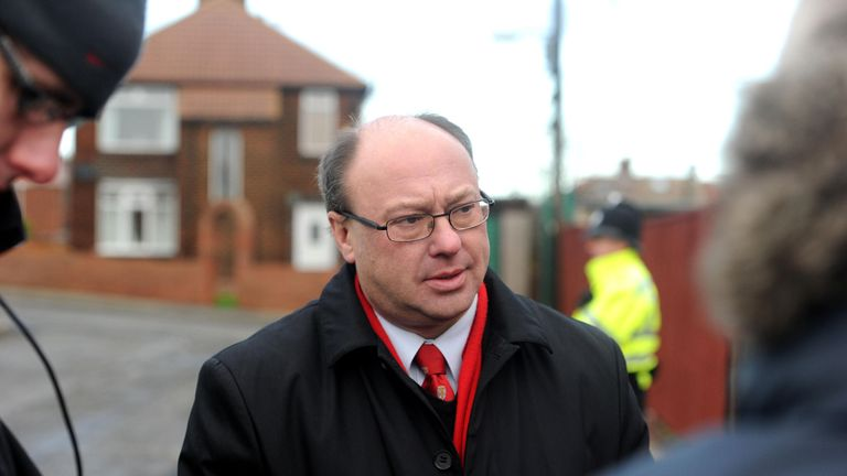 Grahame Morris MP for Easington speaks at the scene in Horden, near Peterlee, a man who shot dead his partner and two other women before turning the gun on himself.