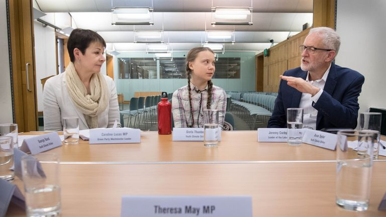 Greta Thunberg meets leaders of the UK political parties at the House of Commons