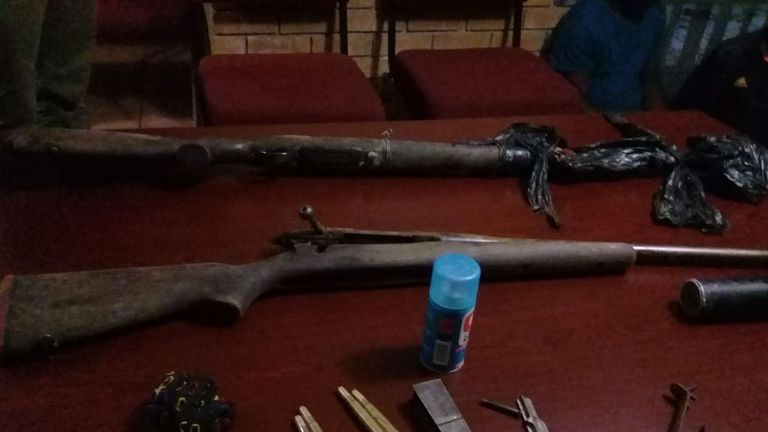 Police tweeted images of rifles and ammo seized from the poachers. @SAPoliceService