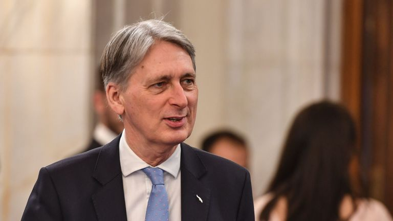 UK's Philip Hammond, Chancellor of the Exchequer arrives at the informal meeting of the Eurogroup gathering EU Finance ministers on April 5, 2019 at the Palace of the Parliament in Bucharest