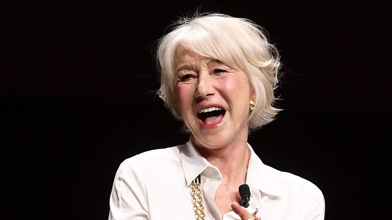 Helen Mirren speaks onstage at CinemaCon 2019 Warner Bros. Pictures Invites You to ?The Big Picture?, an Exclusive Presentation of its Upcoming Slate at The Colosseum at Caesars Palace during CinemaCon, the official convention of the National Association of Theatre Owners, on April 2, 2019 in Las Vegas, Nevada.  (Photo by Matt Winkelmeyer/Getty Images for CinemaCon)