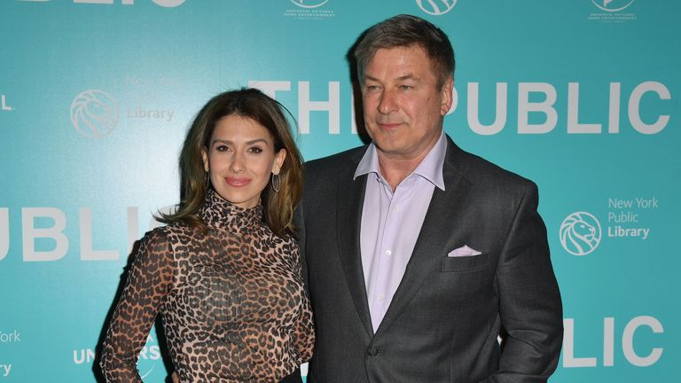 Hilaria Baldwin and Alec Baldwin attend the premiere of The Public in New York on April 1, 2019