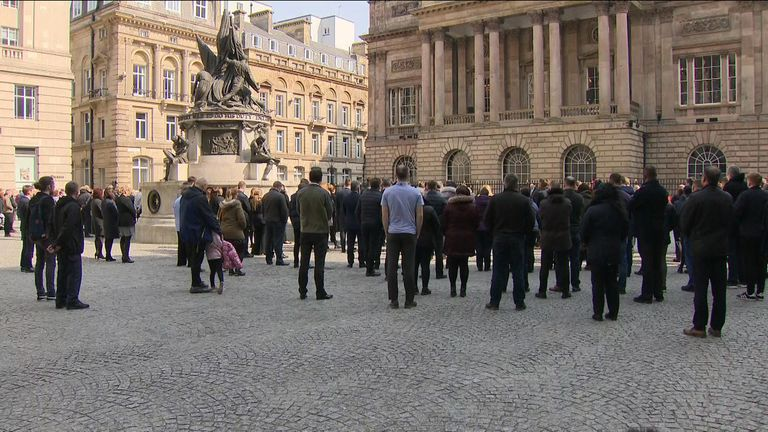 Crowds gather in Liverpool city centre to remember the 96 victims of the Hillsborough disaster
