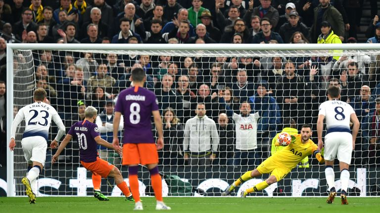 Hugo Lloris saved a penalty from Sergio Aguero in the first half