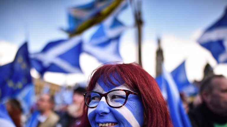 A supporter of IndyRef2 at a Glasgow rally in March