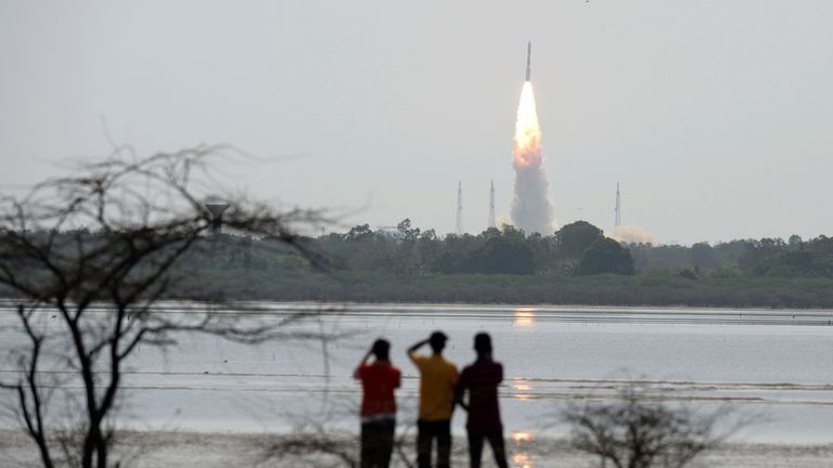 An Indian rocket carrying an Earth observation satellite launches from India's space station in 2017