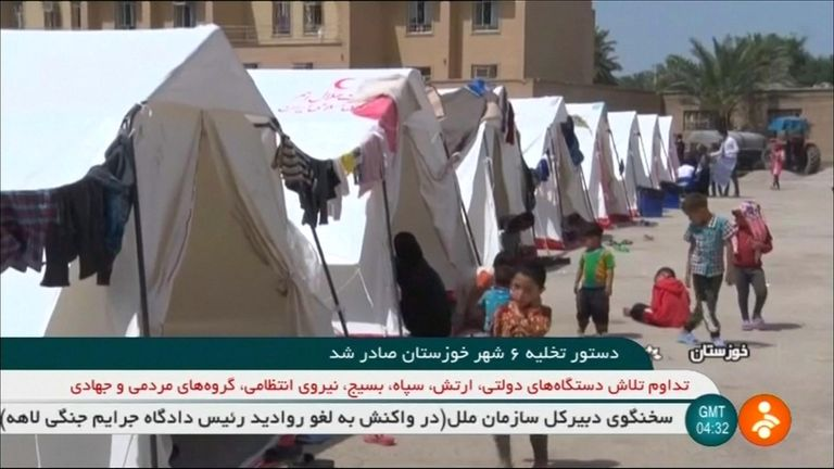 Makeshift camps are set up for those who have left their towns