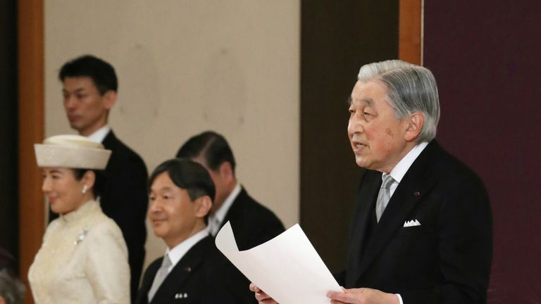 Japan's emperor thanks people for support in abdication ceremony