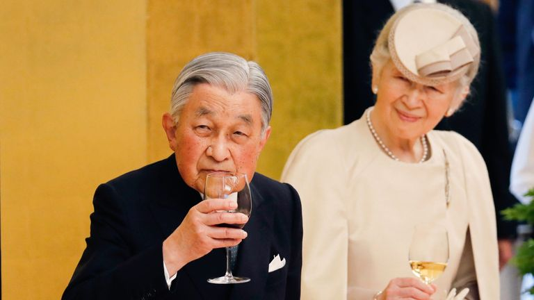 Japan's Emperor Akihito and Empress Michiko