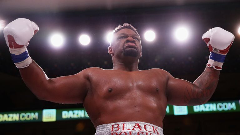 Jarrell Miller, seen celebrating his knock out win over Tomasz Adamek, has recorded an 'adverse' drugs test result