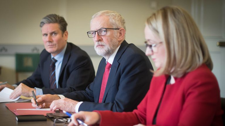 Labour leader Jeremy Corbyn (centre), shadow Brexit secretary Keir Starmer and shadow business secretary Rebecca Long-Bailey in his office in the Houses of Parliament