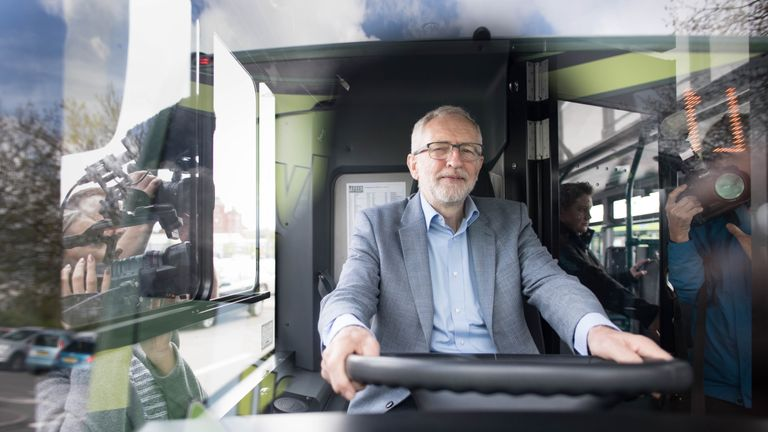 Labour leader Jeremy Corbyn has a look around an 'eco bus' during a visit to Nottingham