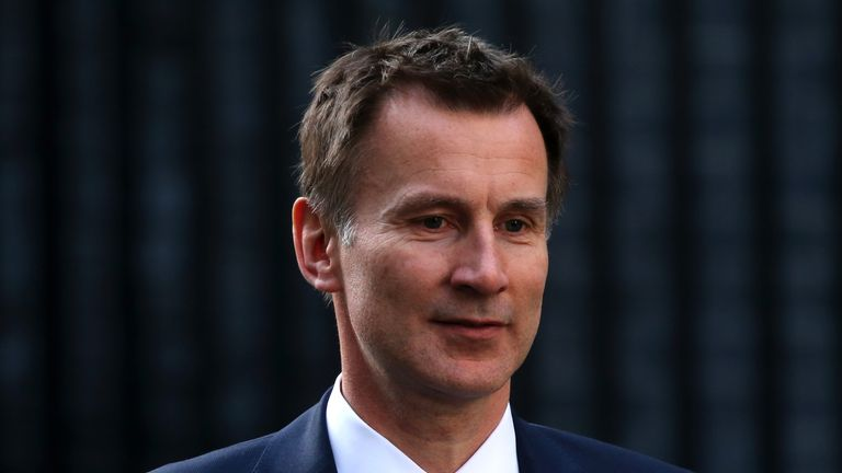 Britain's Foreign Secretary Jeremy Hunt leaves 10 Downing Street