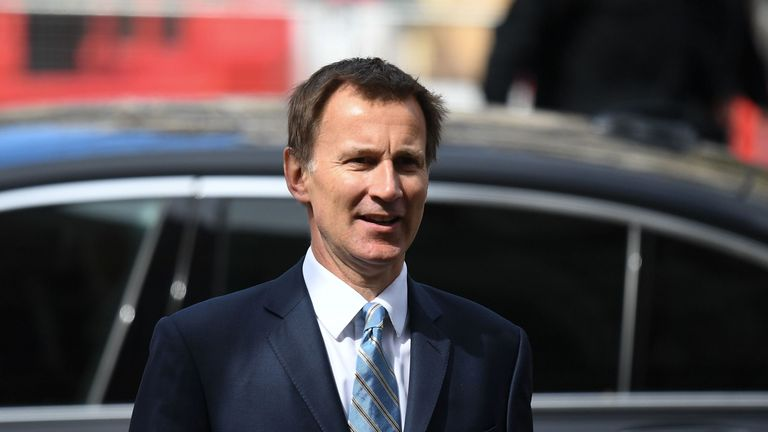 Foreign Secretary Jeremy Hunt arrives to attend a service of commemoration and thanksgiving to mark Anzac Day at Westminster Abbey