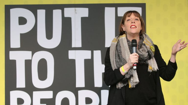 British opposition Labour Party MP Jess Phillips speaks at a rally organised by the pro-European People's Vote campaign for a second EU referendum in Parliament Square, central London on March 23, 2019. - Hundreds of thousands of pro-Europeans from across Britain were expected to march through London on Saturday calling for another referendum on EU membership with the country mired in political paralysis over Brexit.