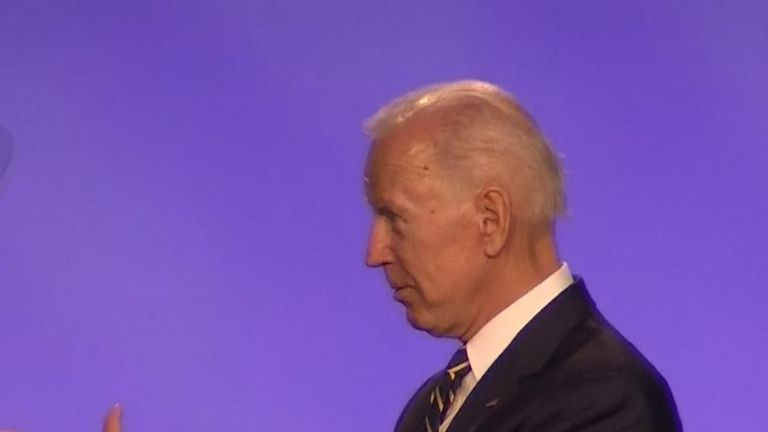 Joe Biden makes a joke on stage