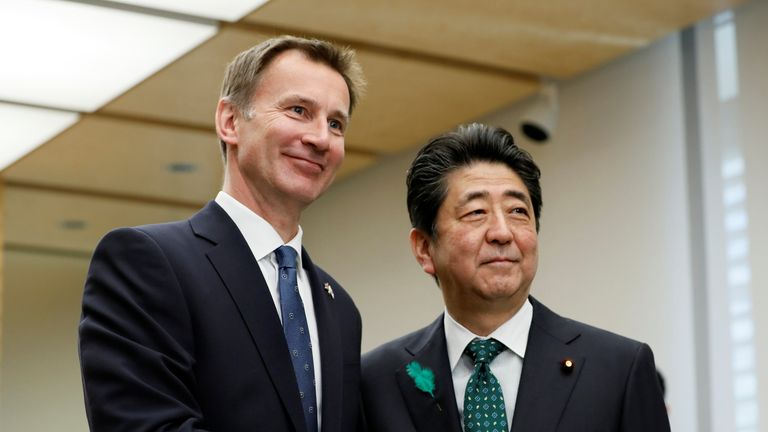Jeremy Hunt, British Secretary of State for Foreign and Commonwealth Affairs, shakes with Japanese Prime Minister Shinzo Abe (R) during a courtesy call at the latter's official residence in Tokyo, Japan, April 15, 2019