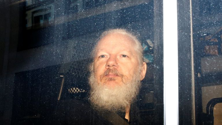 WikiLeaks founder Julian Assange in a police van