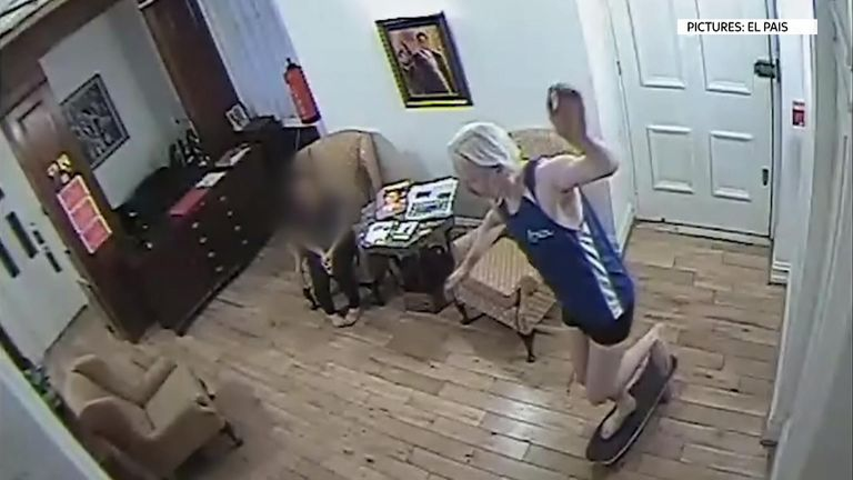 Footage shows Julian Assange skateboarding in the embassy. Pic: El Pais