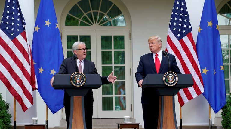 U.S. President Donald Trump and President of the European Commission Jean-Claude Juncker speak about trade relations in the Rose Garden of the White House in Washington, U.S., July 25, 2018