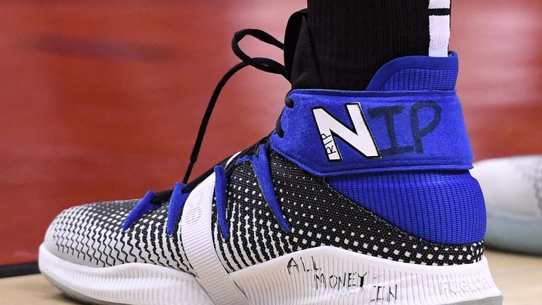 NBA star Kawhi Leonard put a message of remembrance for Nipsey Hussle on his shoes