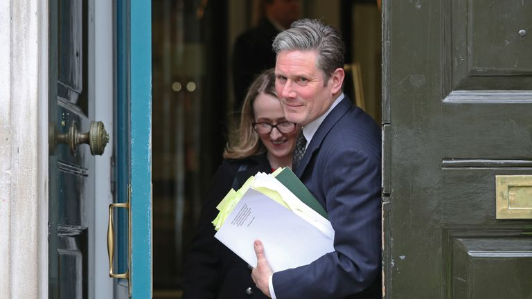 Shadow Brexit secretary Keir Starmer and shadow business secretary Rebecca Long-Bailey leaving the cabinet office in Whitehall, London.