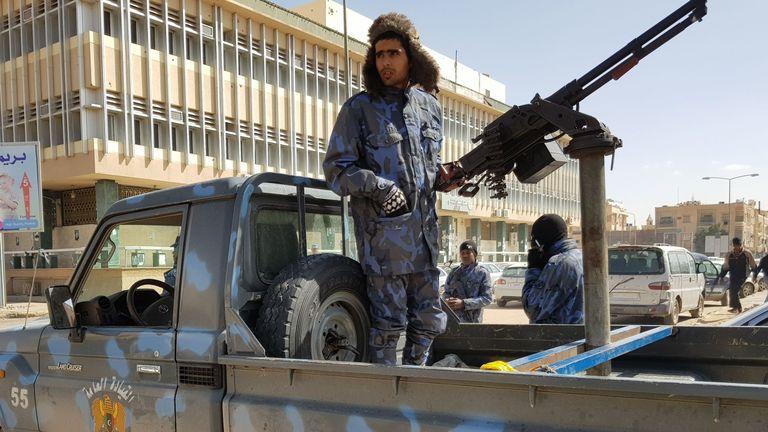 Forces loyal to Libyan strongman Khalifa Haftar patrol in the southern Libyan city of Sebha