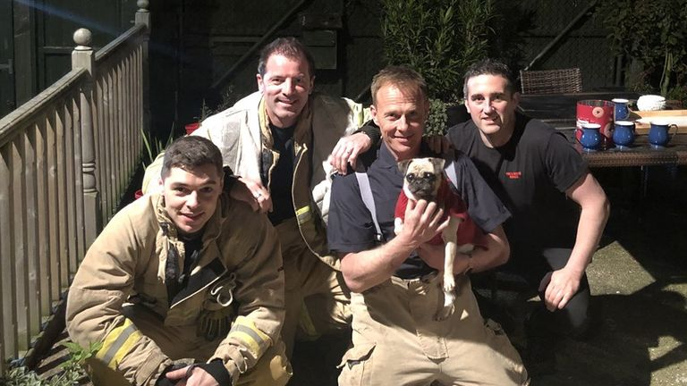 Kiki, with her rescuers. Pic: Kent Fire and Rescue Service