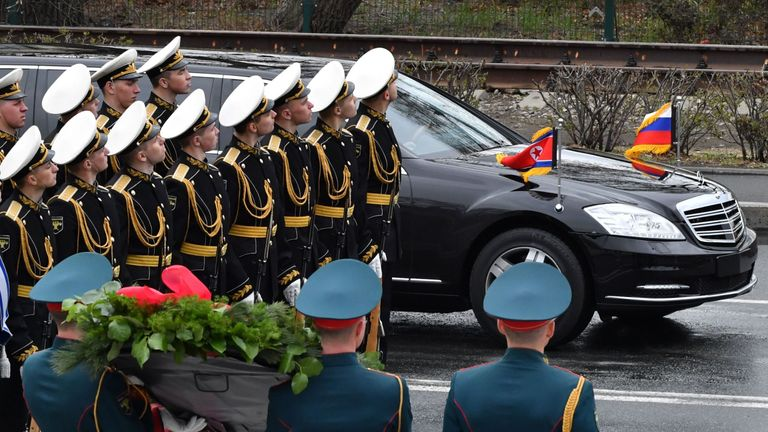 Kim Jong Un arrives in his limousine in the far-eastern Russian port of Vladivostok