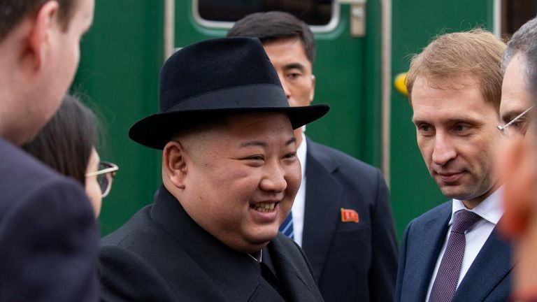 Kim Jong Un was welcomed at the station