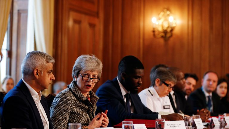 Theresa May attends a Serious Youth Violence Summit in Downing Street