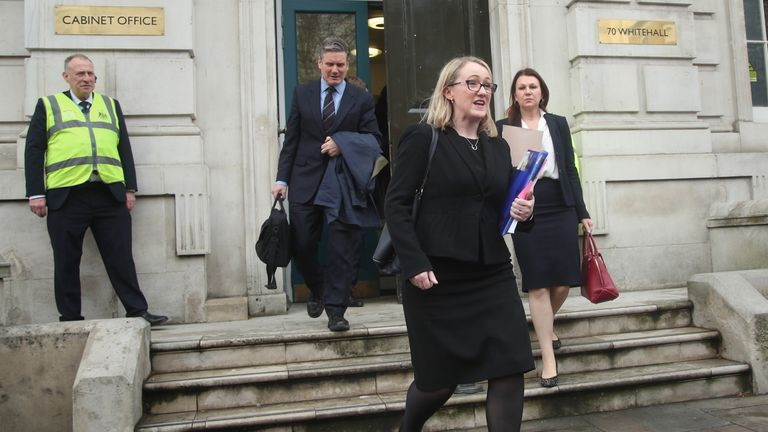 Shadow Environment Secretary Sue Hayman (right), shadow Brexit Secretary Keir Starmer (left) and Rebecca Long-Bailey (centre) leave the Cabinet Office in Westminster, after members of the Government and the Labour party held Brexit talks.
