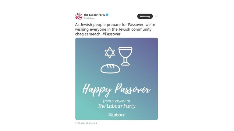 Labour tweeted a happy Passover message with a picture of bread