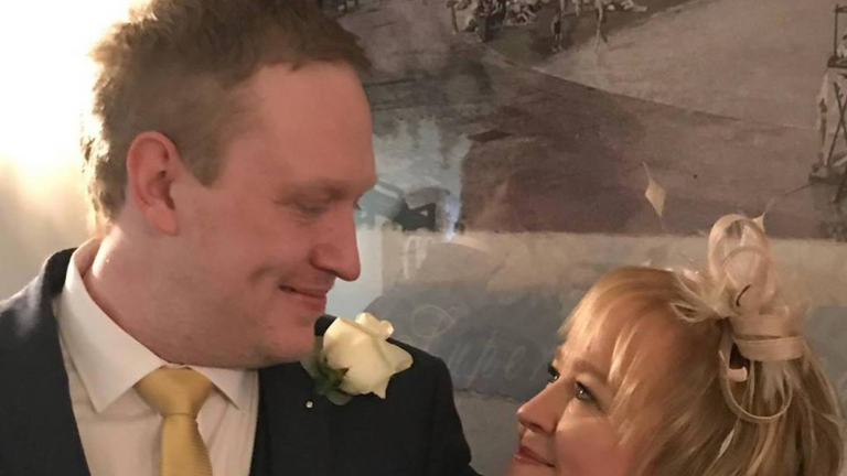 Lorraine Campbell with her son Mark on her wedding day in 2018