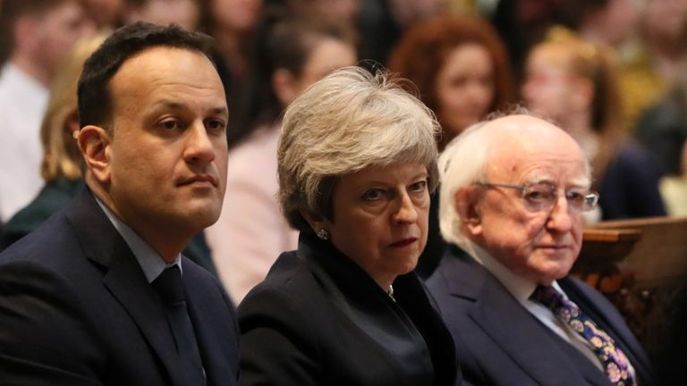 Taoiseach Leo Varadkar, Minister Theresa May and Ireland's President Michael D. Higgins