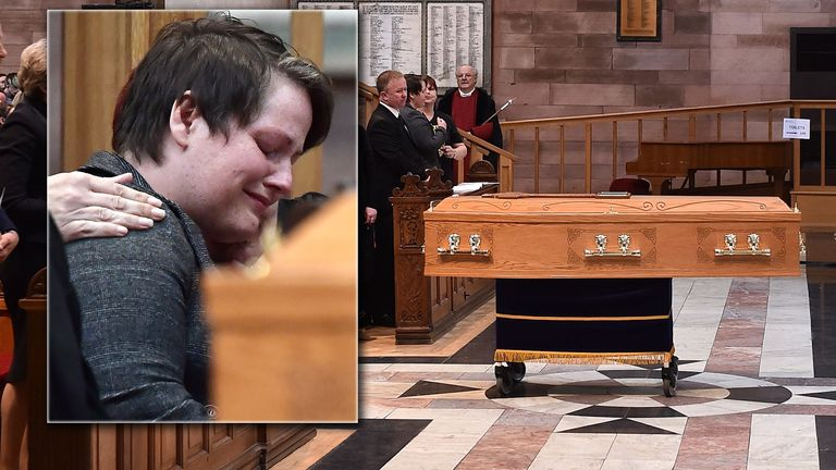 Sara Canning, Lyra McKee's partner, reacts during the funeral service