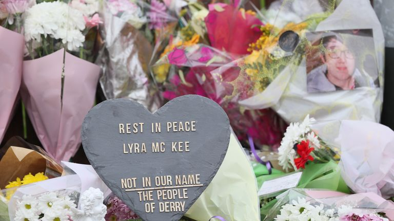 Flowers left at the scene where 29-year-old journalist Lyra McKee was shot