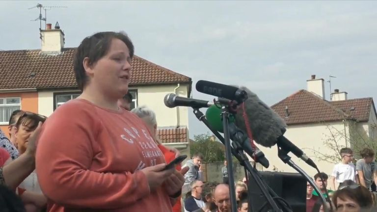 Sara Canning, the partner of journalist Lyra McKee who was shot dead during rioting, spoke at a vigil in Derry.