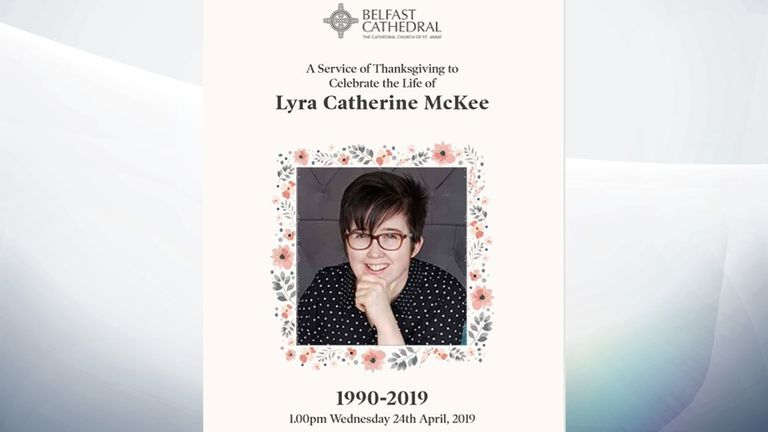 The Order of Service for the funeral for murdered journalist Lyra McKee at St Anne's Cathedral in Belfast
